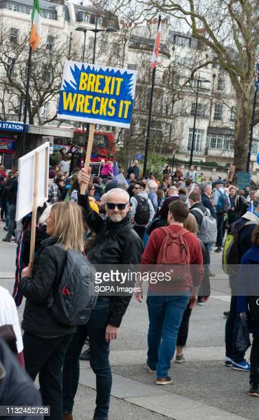 A demonstrator seen with a placard during the protest Over one million protesters gathered at the People's Rally in London demanding a second vote in...