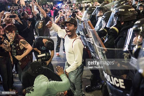 Demonstrator shouts during protests September 21 2016 in downtown Charlotte NC Protests in Charlotte began on Tuesday in response to the fatal...
