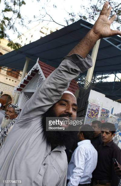 A demonstrator shouts slogans during an antiIndia protest in Karachi Pakistan on Wednesday Feb 27 2019 Pakistani fighter jets have shot down two...
