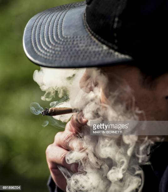 A demonstrator smokes a joint during the the Grow your rights rally in Santiago demanding the depenalization of marijuana on June 03 2017 / AFP PHOTO...