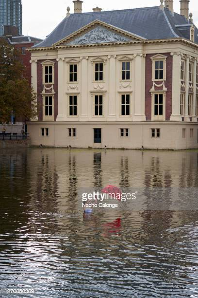 A demonstrator waves a flag from inside Lake Hofvijver next to the parliament in protest during the demonstration in The Hague on September 1 2020 in...