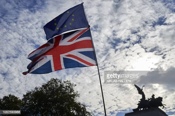 A demonstrator waves a Union flag and a European Union flag as they take part in a march calling for a People's Vote on the final Brexit deal in...