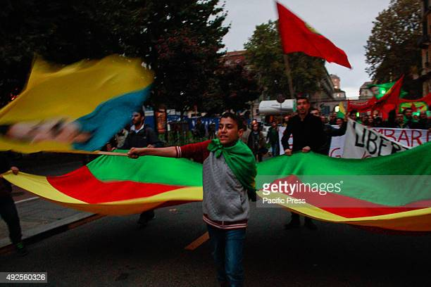 Demonstrator waves flag during a protest against the Turkish President Erdogan and the attack in Turkey with 87 dead and over 200 injured on October...