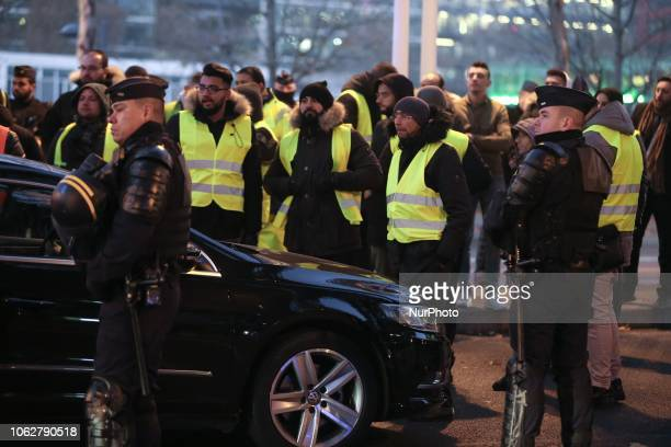 Demonstrator wearing yellow vests protest against the rising of the fuel and oil prices on November 17 2018 near Bercy Finance Ministry in Paris...