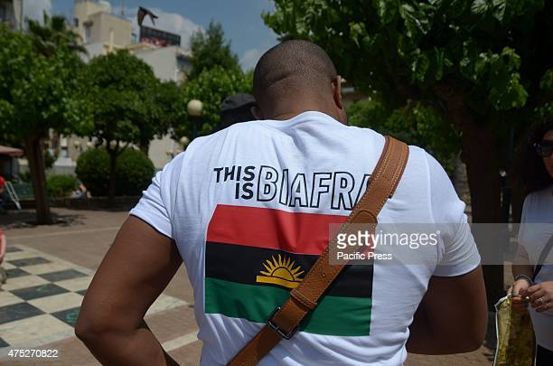 A demonstrator wears a tshirt that reads This is Biafra A rally in the center of Athens organized from Biafrans that live in Greece to commemorate...