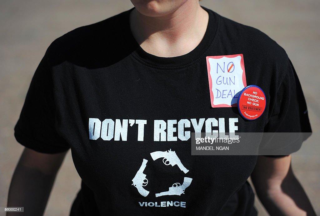 A Demonstrator Wears An Anti Gun T Shirt During A Lie In Protest