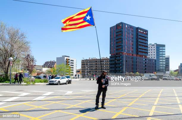 A demonstrator with an independence flag during the rally against the visit of King Felipe VI As a result of a new visit of the king Felipe VI to...