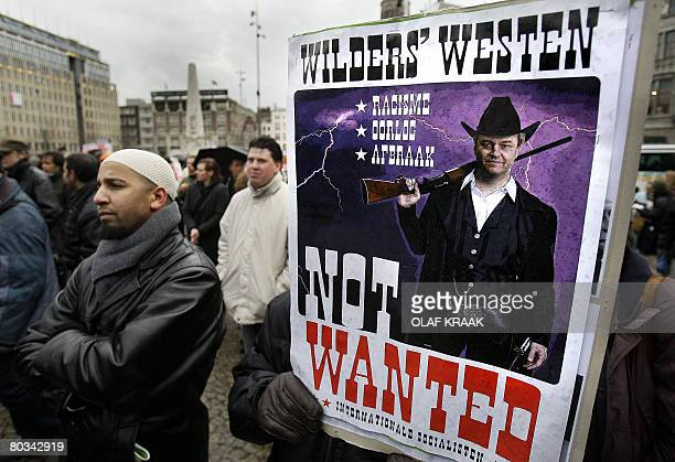 Demonstrators300 according to police while organisers claimed 5000 people fill central Dam square on March 22 2008 during an antiracism protest aimed...