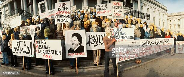 Demonstrators against the Shah of Iran protest outside the US Capitol