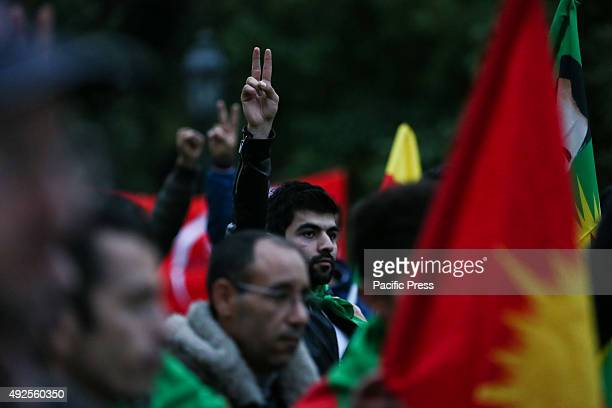 Demonstrators against the Turkish President Erdogan and the attack in Turkey with 87 dead and over 200 injured on October 10 2015 The explosions...