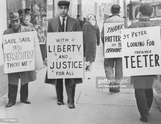 Demonstrators and counterdemonstrators demonstrate for desegregation of a drug store Lynchburg February 28 1960