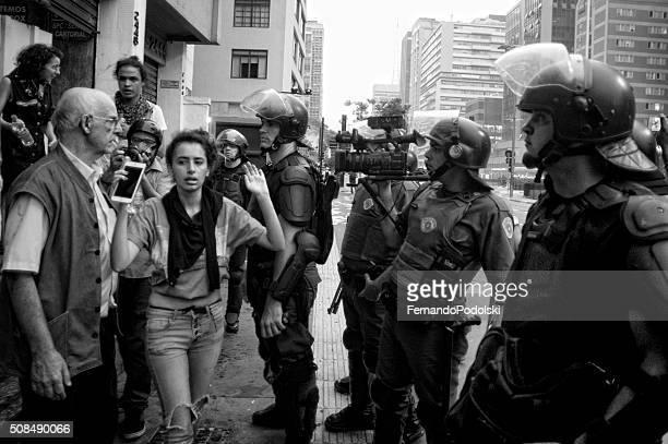 Demonstrators and Police
