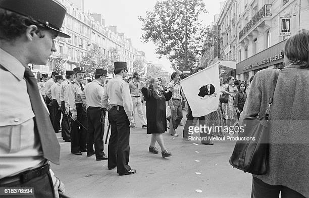 Demonstrators and political supporters protest in the streets of Paris during Edmond Simeoni's trial. Simeoni, a leader of the Corsican separatist...