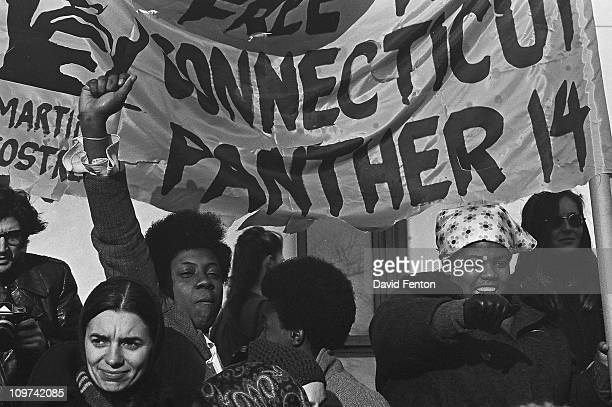Demonstrators and protestors rally in support of the Connecticut Black Panthers and Martin Ramirez Sostre New Haven May 1970 A banner reads 'Free The...