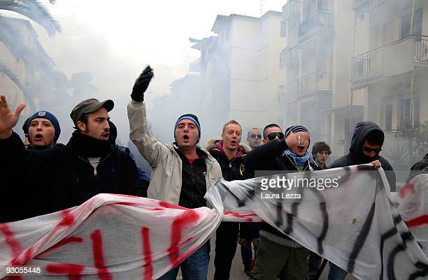 Demonstrators and supporters of AS Livorno Calcio protest outside the Stadio Armando Picchi against the use of the club's stadium to hold...
