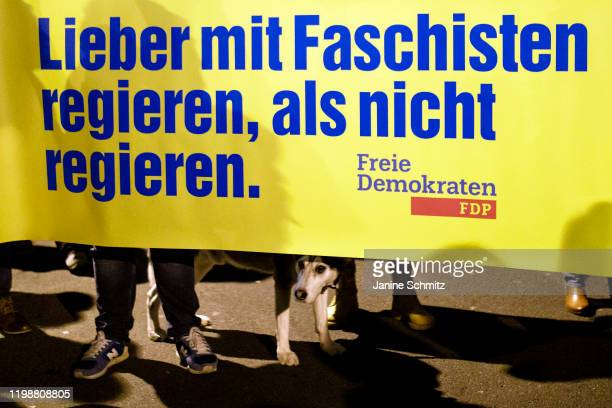 Demonstrators are pictured in front of the FDP headquarter on February 05 2020 in Berlin Germany Reason for the protest is the election of Thomas...