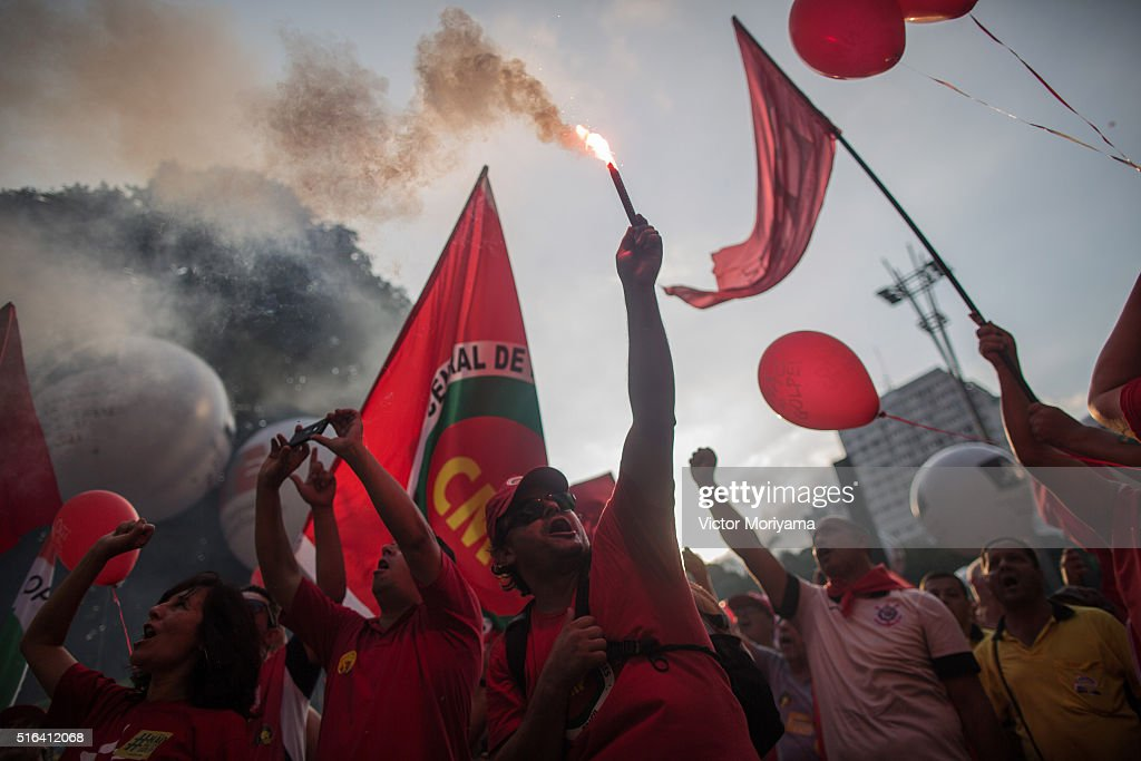 Demonstrators are protesting in support of former President Lula, investigated for money laundering on March 18, 2016, in Sao Paulo, Brazil. Former President Luiz Inacio Lula da Silva had his temporary detention requested by the prosecutor of Sao Paulo for alleged involvement in funding shifts and corruption. A telephone recording between President Dilma Rousseff and former President Lula was released by the Federal Police, which seems to suggest that he was appointed into the cabinet in an attempt to avoid prosecution in the corruption scandal.