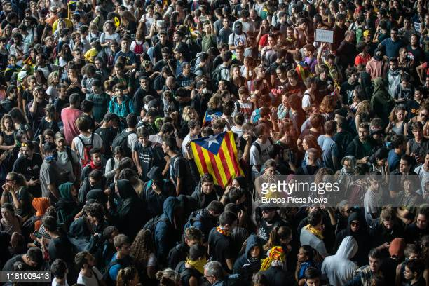 Demonstrators are seen at Barcelona Airport-El Prat to protest after the 'Proces' sentence was announced on October 14, 2019 in Barcelona, Spain.