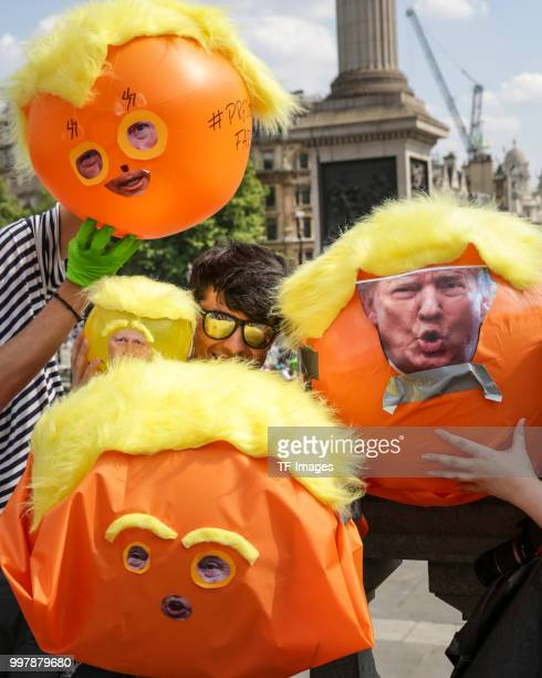 Demonstrators are seen during a demonstration against the visit to the UK by US President Donald Trump on July 13 2018 in London England