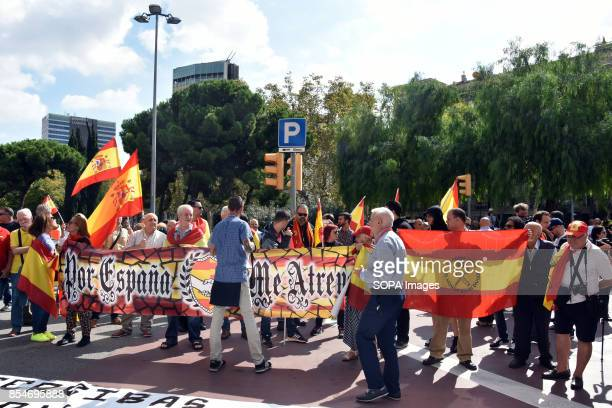 RàDIO BARCELONA CATALONIA SPAIN Demonstrators are seen holding a banner with the flag of Spain during a protest Around 50 demonstrators from the...