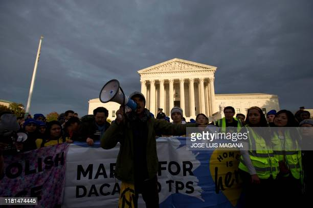 Demonstrators arrive in front of the US Supreme Court during the Home Is Here March for Deferred Action for Childhood Arrivals and Temporary...