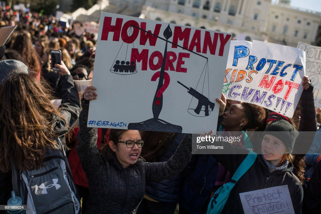 Demonstrators assemble for a rally on the West Front of the Capitol to call on Congress to act on gun violence prevention during a national walkout by students on March 14, 2018.