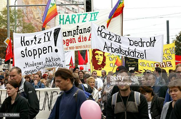 Demonstrators at a demonstraition against the social cuttings of the Federal German Government in Berlin
