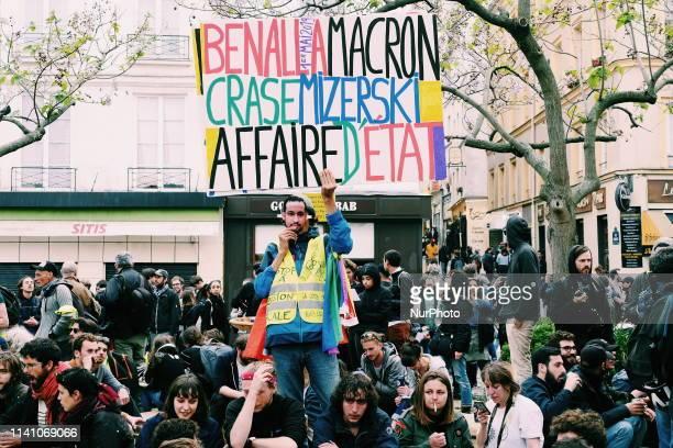 Demonstrators at quotbennala's birthdayquot quotplace de la contrescarpe quot Paris May the 1th of 2019