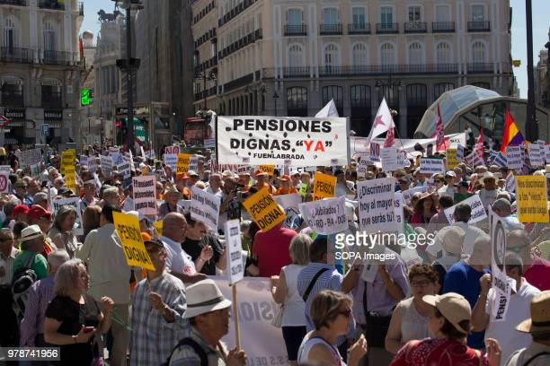 Demonstrators at the Plaza del Sol in Madrid After the new government led by socialist Pedro Sanchez took power Spanish people took to the streets to...