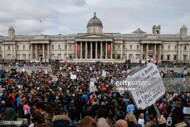 "Demonstrators attend a ""We Do Not Consent"" anti-mask rally at Trafalgar Square on September 26, 2020 in London, England. Thousands of anti-mask..."