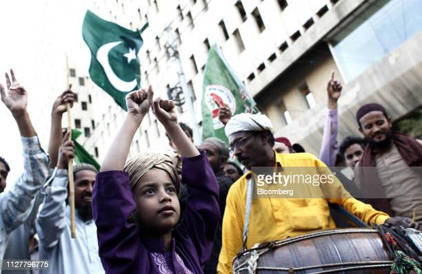 Demonstrators attend an antiIndia protest in Karachi Pakistan on Wednesday Feb 27 2019 Pakistani fighter jets have shot down two Indian aircraft in a...