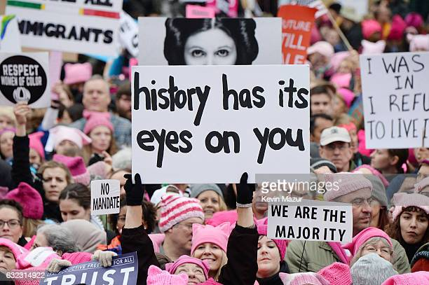 Demonstrators attend the rally at the Women's March on Washington on January 21, 2017 in Washington, DC.