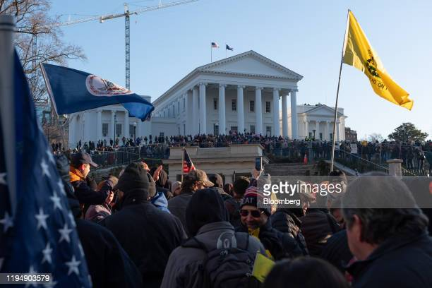 Demonstrators attend the Virginia Citizens Defense League Lobby Day rally at the state capitol in Richmond Virginia US on Monday Jan 20 2020 The VCDL...