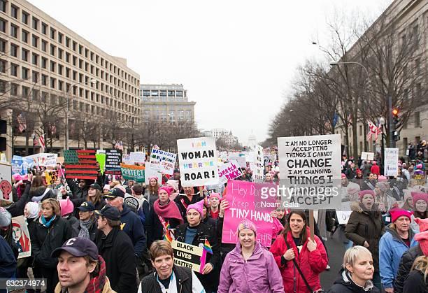 Demonstrators attend the Women's March on Washington on January 21, 2017 in Washington, DC.