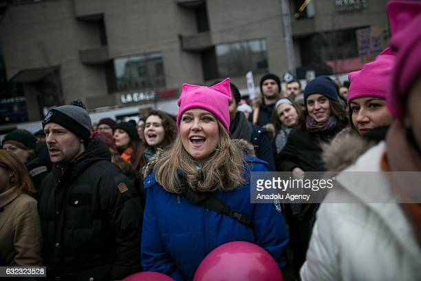 Demonstrators attend the Women's March to protest President Donald Trump in Montreal Canada on January 21 2017 Thousands of people gather in Montreal...