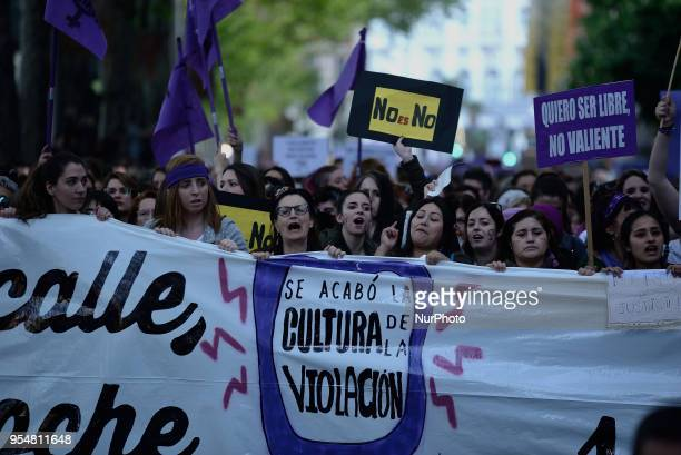 Demonstrators behind a banner under the motto `The rape culture is finished´ during a protest in Madrid on 4th May 2018