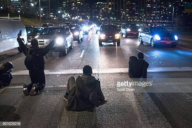 Demonstrators block Lake Shore Drive on December 11 2015 in Chicago Illinois A recently released video showing the shooting of Laquan McDonald by...