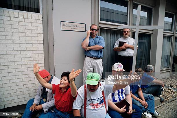 Demonstrators block the entrance of a pregnancy clinic in Little Rock Arkansas The antiabortion demonstrators are from Operation Rescue a Christian...