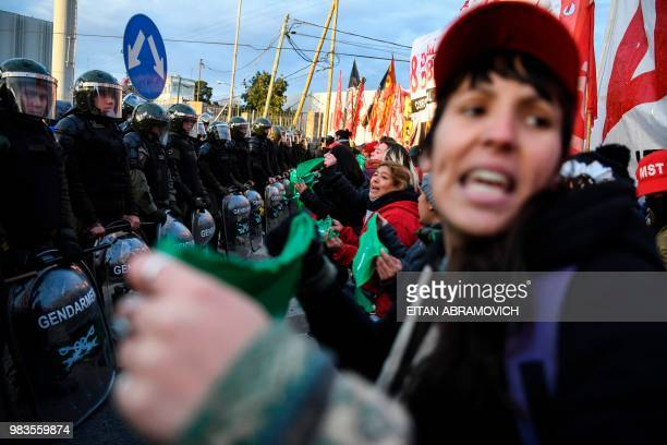 Demonstrators block the PanAmerican highway in Buenos Aires on June 25 during a 24hour general strike called by Argentina's unions in protest of the...