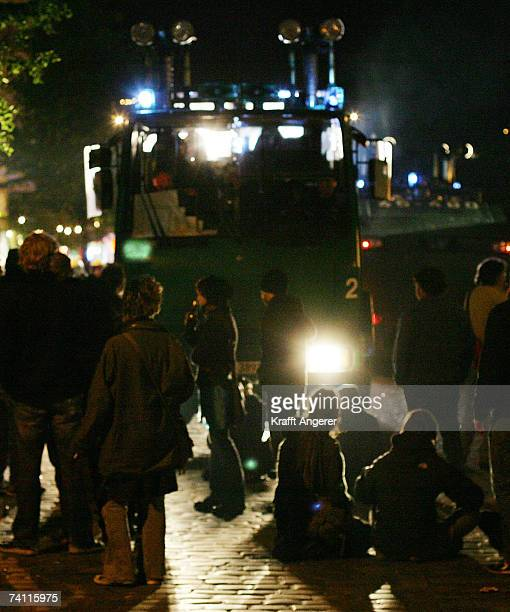 Demonstrators block the street during a demonstration in front of the Rote Flora a stronghold of G8 opponents on May 9 2007 in Hamburg Germany Police...
