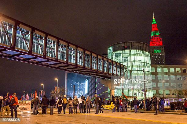 Demonstrators block traffic in front of The Quicken Loans Arena on December 29 2015 in Cleveland Ohio Protestors took to the street the day after a...