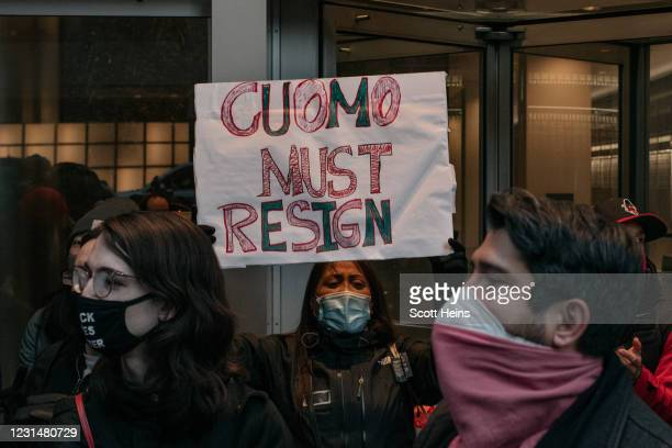 Demonstrators call on New York Gov. Andrew Cuomo to resign at a rally on March 2, 2021 in New York City. Calls for Cuomo's impeachment or resignation...