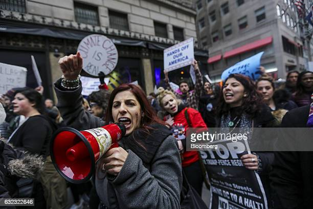 Demonstrators chant while marching towards Trump Tower during the Women's March in New York, U.S., on Saturday, Jan. 21, 2017. Hundreds of...