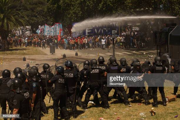 Demonstrators clash with police during a protest against pension reforms in Buenos Aires Argentina on Monday Dec 18 2017 Argentina's lower house...