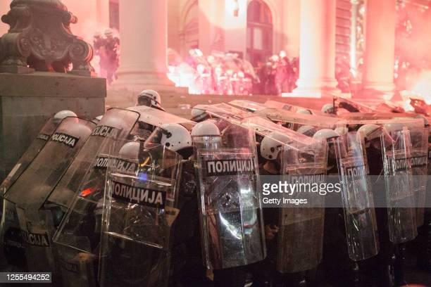 Demonstrators clash with riot police during an antigovernment protest on July 10 2020 in Belgrade Serbia Following recent protests the Serbian...