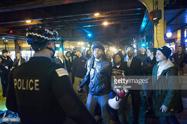 Demonstrators confront police during a protest over the death of Laquan McDonald on November 25 2015 in Chicago Illinois Small and mostly peaceful...