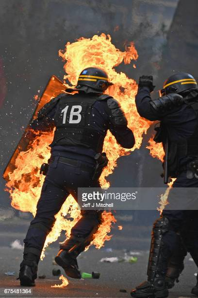 Demonstrators confront police during the annual May Day worker's march onMay 1 2017 in ParisFrance Police dealt with violent scenes in central Paris...