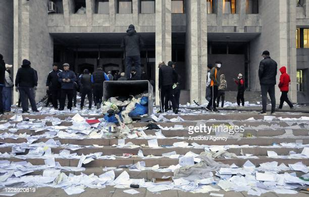 Demonstrators continue to gather around the Presidential Palace, in which they occupied tonight, during protest the results of weekend parliamentary...