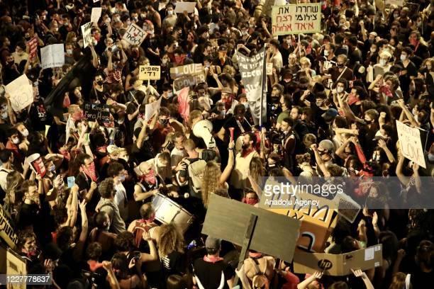 Demonstrators continue to protest against Israeli government's handling of coronavirus pandemic and Israeli Prime Minister Benjamin Netanyahu's...