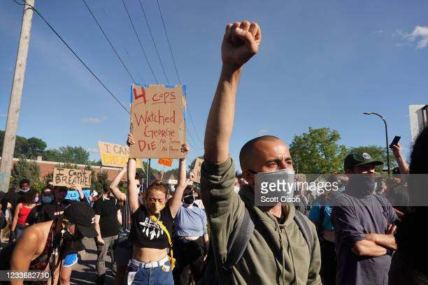 Demonstrators continue to protest the death of George Floyd following a night of rioting on May 29 2020 in Minneapolis Minnesota Earlier today former...